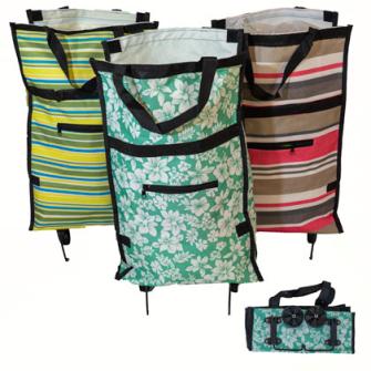 Einkaufstasche mit 2 klappbaren Rädern, 53*31*13 cm 3ass