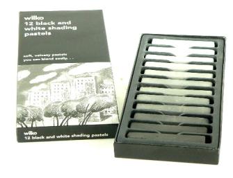 Farben Pastellkreiden 12erSet, verschiedene Graustufen, 6cm Stiftlänge