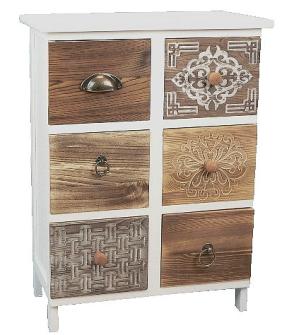 Möbel m. 6 Schubladen unterschiedlichen Holzarten 45x25x60.5cm