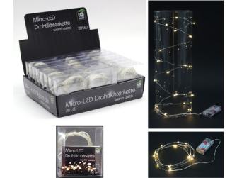 LED Drahtlichterkette 20 LED warmweiss batteriebetr. in Display