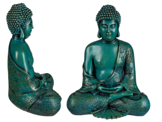 Buddha Thai sitzend 30cm petrolfarbig