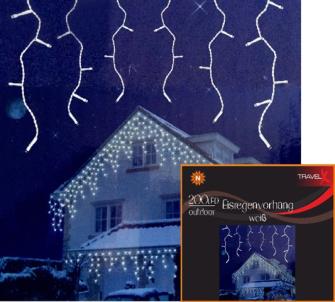 Lichterkette 200 LEDs warmweiss, f. Aussen 8 Funktionen, 10cm Abstand, Kabel 50cm
