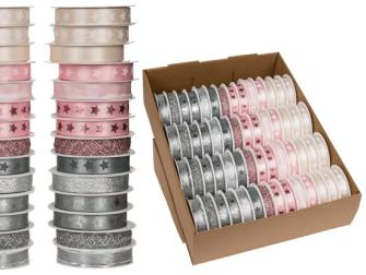 Geschenkband Rosa Cremefarben Grau 15mmx3m 10ass 56 Rollen im Aufsteller