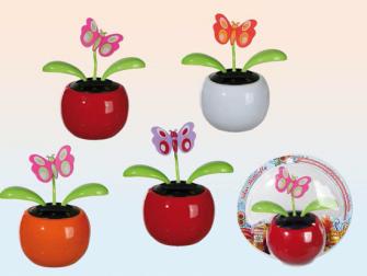 Wackelfigur Blumentopf Kunststoff 11cm mit Solarzelle bewegliche Schmetterlinge, blister zum aufhäng