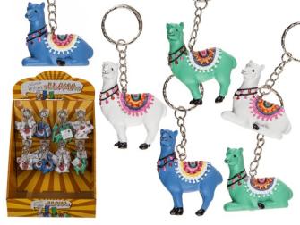 Schlüsselanhänger Llama 2ass 3 Farben 6cm 48 im Display
