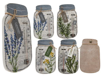 Thermometer Weiss Holz mit Blumendruck Vintage Look 20x12cm 4ass