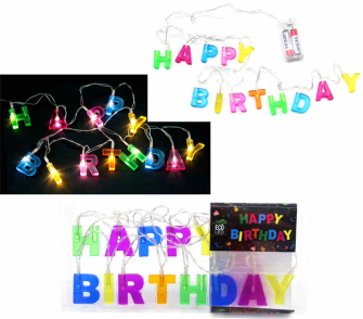Lichterkette Happy Birthday Kunststoff 13LEDs PVC-Pack 2AA