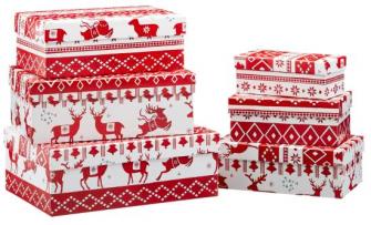 Geschenkboxen Weiss Rot mit Hirsch Xmas 6tlg quadratisch L21x12cm