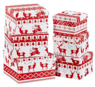 Geschenkboxen Rot Weiss mit Hirsch Xmas 6tlg rechteckig