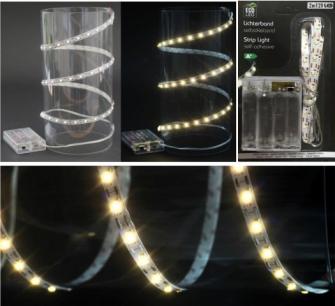 Lichtband 120 LED warmweiss zuschneidbar, selbstklebend (ohne 4xAA) 2m
