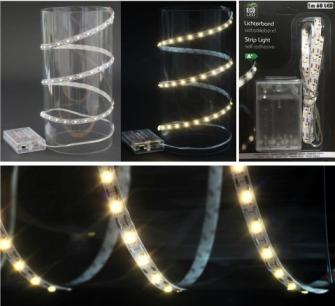 Lichtband 60 LED warmweiss, zuschneidbar selbstklebend (ohne3xAA) 1m