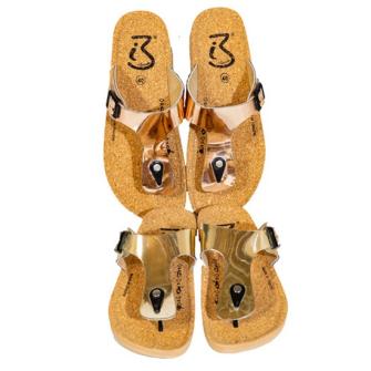 Schuhe Pantolette Zehenteiler Kunststoff und Kork Grössen 36-41 gemmischt 3 Fraben ass