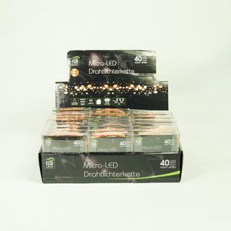 LED Drahtlichterkette kupferfarben 40 LED warmweiss batteriebetr. in Display