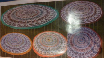 Tischdecke rund 165cm mit Fransenrand Baumwolle bedruckt 5ass INDIEN