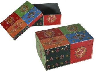 Box Holz mit buntem, orientalischen Dekor, handgearbeitet, 17x11,5cm