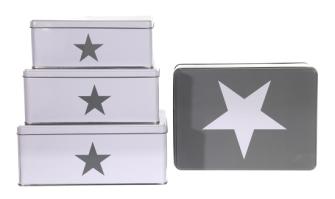 Metalldose Stern 3erSet rechteckig S=18x11x7cm, M= 20x13x8cm, L= 22x16x9cm 2ass