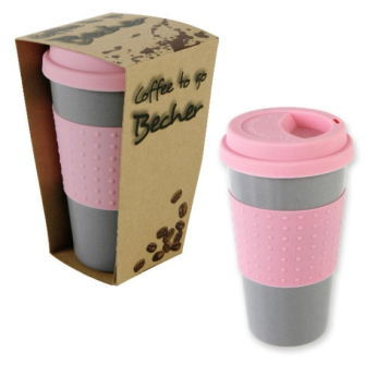 Becher Kaffee coffee to go Grau/Pink 350ml