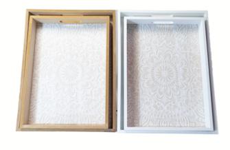 Tablet Holz  Mandala Design 30x4x5cm / 26x37x5cm 2er Set 2ass