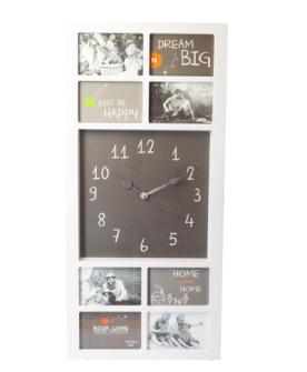 Bilderrahmen Kunststoff, weiss 9 Bilder mit Uhr batteriebetrieben  76x36x2.5cm
