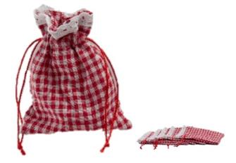 Geschenksäckchen 6erSet Baumwollmischgewebe kariert 11x14cm