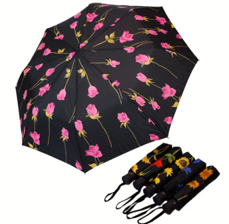 Taschenregenschirm mit Auf-Automatik gute Qualität Blumen auf schwarz 6ass