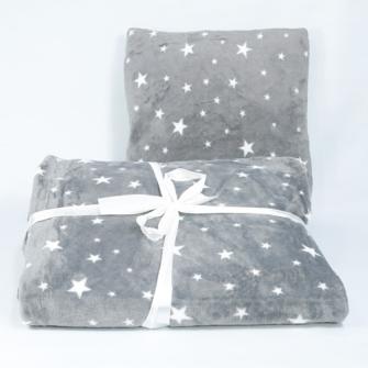 Kuscheldecke 150x200cm und Kissen 40x40cm stars 100% Polyester