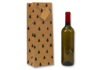 Geschenktasche Flaschenform naturfarbem mit kl.Tannen 12x10x35cm