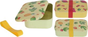 Bambus Lunchbox mit Silikon Band 2 Farben und Designs ass 19x13x5.5cm