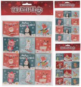 Geschenkanhänger Weihnachten 24er Set 6 Designs ass 5.5x0.4x5.5cm