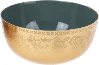 Dekoschale gold/grün glänzend  mit Ornamenten 12x12x5cm