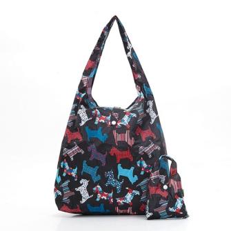Einkaufstasche ECO CHIC Terrier Schwarz faltbar Nylon 56x38x10cm