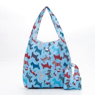 Einkaufstasche ECO CHIC Terrier Blau faltbar Nylon 56x38x10cm