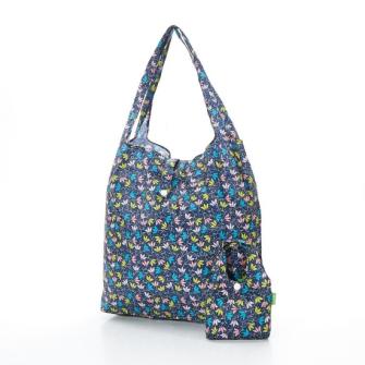 Einkaufstasche ECO CHIC Streublumen Blau faltbar Nylon 56x38x10cm