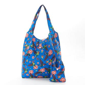 Einkaufstasche ECO CHIC Kolibri Blau faltbar Nylon 56x38x10cm