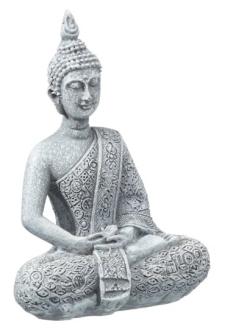 Buddha sitzend grau Polyresin Höhe 9cm
