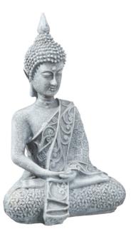 Buddha sitzend grau Polyresin Höhe 12cm