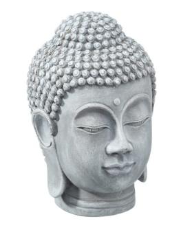 Buddha Kopf grau Polyresin Höhe 19cm