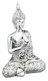 Buddha sitzend silber Polyresin Höhe 9,5cm