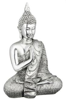 Buddha sitzend silber Polyresin Höhe 17.5cm