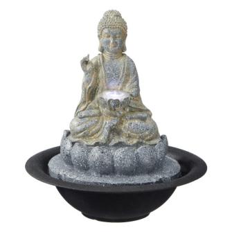Buddha Zimmerbrunnen rund Polyresin Höhe 25cm