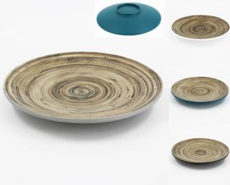 Bambus Teller weiss, hellgrau, dunkelgrau, petrol Maserung innen 35x4cm