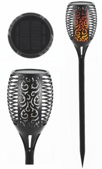 Licht Outdoor Gartenfackel mit Ornamenten schwarz Solar Flammenlicht Kunststoff