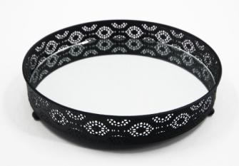 Tablett mit Ornamenten auf Füssen schwarz Metall eingelassene Spiegelplatte 29x5cm