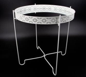 Tisch Metall weiss mit Ornamenten eingelassene Spiegelplatte 40x42,5cm