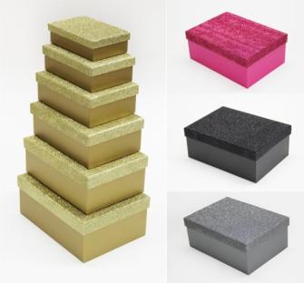 Geschenkboxen 6erSet mit Glitzer schwarz, pink, gold, silber 22x16x9cm (grösste)