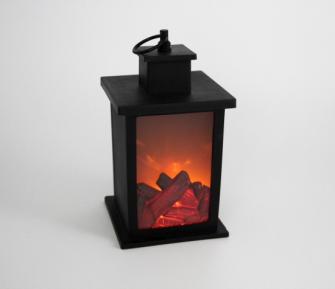 Laterne Kamin LED schwarz Kunststoff Holzscheite flackernd 14x14x24,5cm