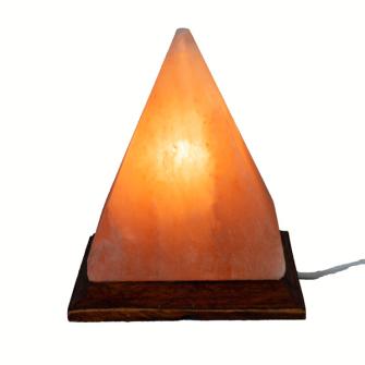 Himalayasalz-Lampe Pyramiden 15x15cm, mit Holzsockel+ELEKTRIK+BIRNE 15W