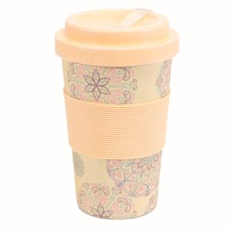 Becher Bambus mit Schraubverschluss und Griffring Karma Design light 400 ml für Tea-/Coffee-to-go
