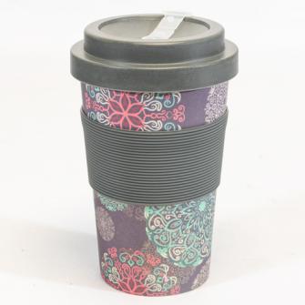 Becher Bambus mit Schraubverschluss und Griffring 400 ml Karma Design dark für Tea-/Coffee-to-go