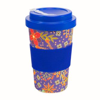 Becher Bambus mit Schraubverschluss und Griffring 400 ml Flower Design für Tea-/Coffee-to-go